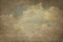 Art Illustration.  Handmade Textured Backdrop. Vintage Background. Old Paper Background. The Clouds. Sepia. Blank. Aged Wallpaper For Card. Template For Design. Textured.