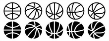Basketball Icon Set In Line Style, Vector Illustration.