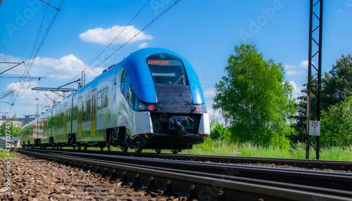 Obraz na plátně blue eco train on the tracks