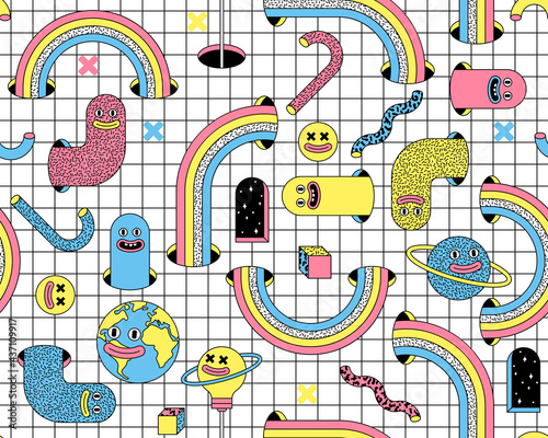 Fotografie, Obraz Surreal vector seamless pattern with emoji, rainbow, arch, space in trendy psychedelic weird cartoon style