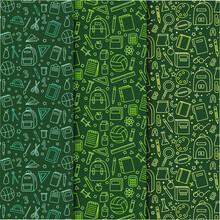School Pattern Background. Back To School Wallpaper. Education Doodle Design. Fun Study Supplies Element Texture. Creative School Science Pattern. Student Autumn Calender Paper. Vector Illustration.