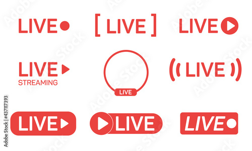 Fotografija Set of live streaming icons