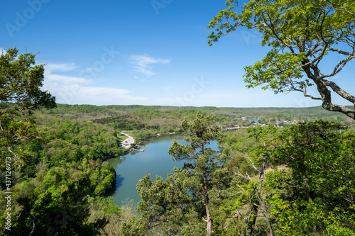 Fotografie, Obraz Overhead lookout viewpoint of Lake of the Ozarks Missouri on a sunny spring day