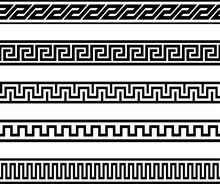 Collection Of Greek Pottery Ornamental Borders. Decorative Meander Patterns.
