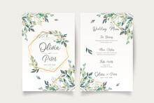 Wedding Invitation Menu Template With Beautiful Leaves Design Vector Illustration
