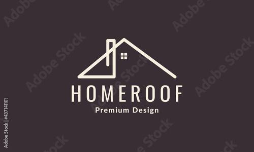 Fotografiet line roof chimney logo symbol vector design illustration