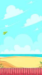 Fototapeta na wymiar Vertical game field. Green paper airplane flying in the clouds