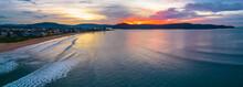 Aerial Views Sunrise Panorama At The Seaside