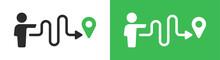Man Follow The Path For Destination Icon. Route Concept Vector Illustration