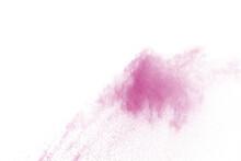 Pink Powder Explosion On White Background.