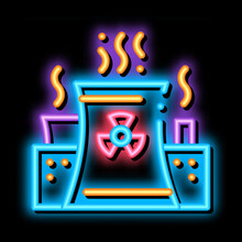Generating Atomic Plant Neon Light Sign Vector. Glowing Bright Icon Transparent Symbol Illustration