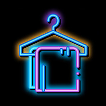 Dress Things On Hanger Neon Light Sign Vector. Glowing Bright Icon Transparent Symbol Illustration