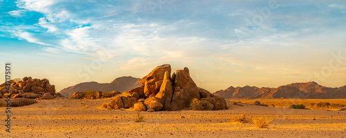 Fotografiet Panorama at Namib Desert, landscape with two rock mountain during sunset at Soss