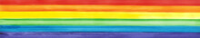 LGBT Pride Rainbow Flag. Symbol Of Sexual Minorities And Tolerance. LGBTQ, LGBT   Community Concept. Watercolor Painted Background With Copy Space For Design. Wide Banner. Website Header.