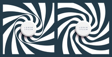 Pattern With Optical Illusion. Black And White Design. Abstract Striped Background. Rotation And Swirling Movement. 3d Motion Vector Illustration For Advertising, Marketing Or Presentation.