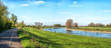 Dike Landscape Near The River Ijssel, The Netherlands