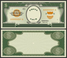 Samples Of The Front And Back Sides Of Blank Paper Money, In The Form Of US Dollars. Gold Certificate Banknote With The Inscription Your Photo In An Oval. Guilloche Green Frame On Obverse And Reverse