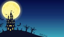 秋のハロウィンの城の黒いシルエットのベクターイラストフレーム背景