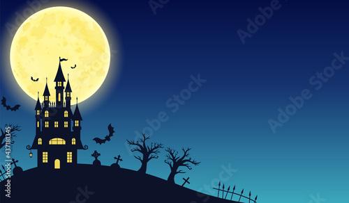 Photographie 秋のハロウィンの城の黒いシルエットのベクターイラストフレーム背景