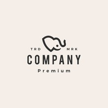 Elephant Baby Hipster Vintage Logo Vector Icon Illustration
