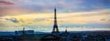 Fototapeta Paryż - Banner of travel at Skyline of Paris city roofs with Eiffel Tower which Paris Best Destinations in Europe,Travel  landmark concept