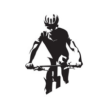 Mountain Bike Cyclist. MTB Cycling Logo. Abstract Isolated Vector Silhouette, Front View