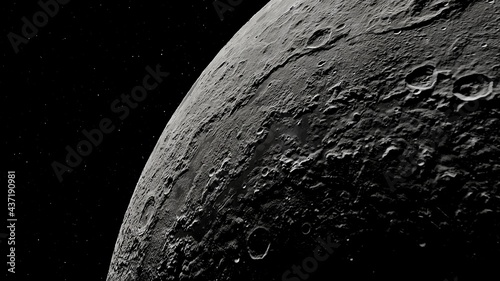 Canvas realistic moon in space, realistic moon surface, moon craters 3d render