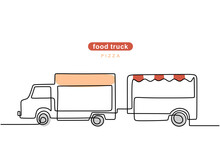 Single Continuous Line Of Pizza Food Truck With Trailer. Pizza With Trailer Truck In One Line Style Isolated On White Background.