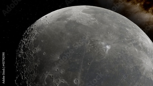 Foto realistic moon in space, realistic moon surface, moon craters 3d render