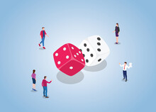 Dice Game With People Man And Woman With Two Dice With Modern Flat Isometric Style