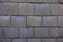 Square Slate Grey Roof Tiles On A Wall