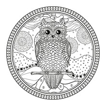 Owl. Mandala With Cute Bird. Zentangle. Hand Drawn Abstract Patterns On Isolation Background. Design For Spiritual Relaxation For Adults. Zendala. Black And White Illustration For Coloring. Zen Art