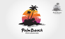 Palm Beach Logo Illustration. Water Ocean Waves With Sun, Palm Tree And Beach, For Restaurant And Hotel.
