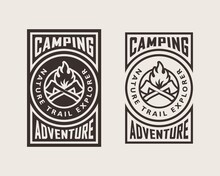 Set Of Color Illustrations Of Crossed Axes, Fire And Text On The Background. Vector Illustration In Vintage Style For Poster, Emblem, Print, Label And Sticker. Camping. Wildlife Travel.