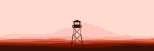 Silhouette Of Watch Tower At Mountain Vector Flat Design For Wallpaper, Banner, Background, Design Template And Backdrop Design