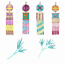 A Set Of Decorations For The Japanese Star Festival TANABATA. Bamboo Branches. Handmade Markers On Paper