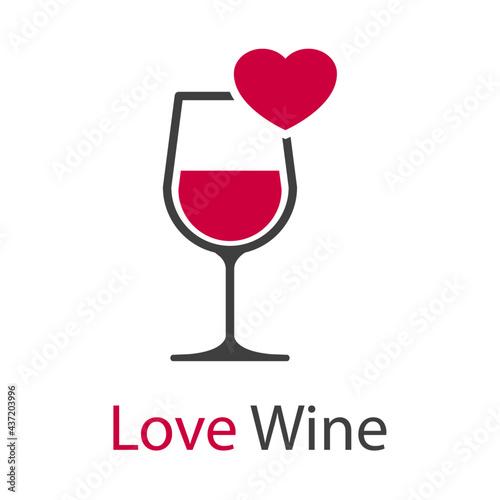Papel de parede Logotipo con texto Love Wine con copa de vino con corazón en color gris y granat