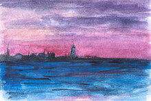 Lighthouse Sunset Watercolor. Children's Primitive Drawing With Watercolors. A Quick Sketch Of The Evening Seascape. Pink Sunset And Blue Water, Black Silhouette Of The Lighthouse. Summer Landscape