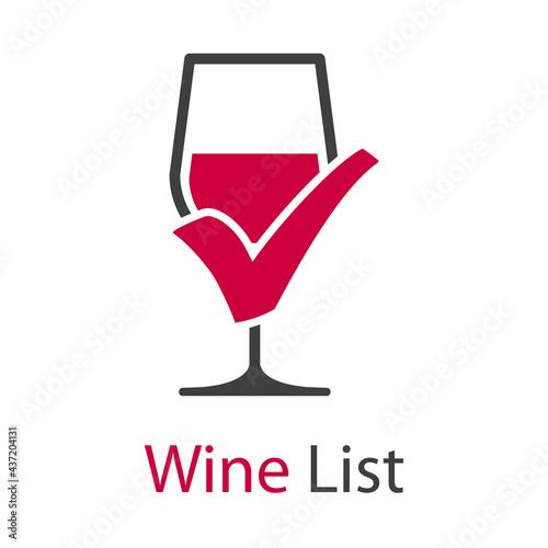 Fotografia Logotipo con texto Wine List con copa de vino con tilde aprobado en color gris y