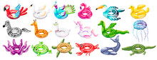 Set Of Inflatable Swim Pool Floats And Rings In The Form Of Flamingos, Stork, Peacock, Parrot, Pelican, Duck, Zebra, Giraffe, Llama, Unicorn, Dragon, Octopus, Frog, Turtle, Crab, Whale, Crocodile.