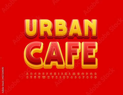 Vector Colorful Banner Urban Cafe. Red and Yellow 3D Font. Bright Alphabet Letters and Numbers