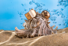 Golden Ring Underwater On The Sand Next To The Seashells