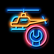 Helicopter Wrench Neon Light Sign Vector. Glowing Bright Icon Helicopter Wrench Sign. Transparent Symbol Illustration