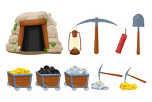 Set Mine Tools, Equipment In Cartoon Style Isolated On White Background. Wooden Cart With Gold, Silver, Coal Ore, Tunnel Entrance, Retro Lamp, Pickaxe And Shovel. Ui Assets