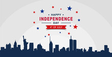 4th Of July Happy Independence Day Of United States Of America With American Flag Vector Illustration Background
