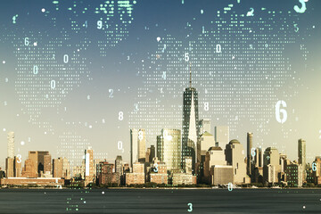 Multi exposure of abstract software development hologram and world map on New York city skyscrapers background, global research and analytics concept