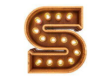 Letter S With Realistic Light Bulbs And Wood Isolated On White Background. 3D Illustration.