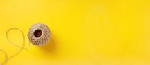 Skein Of Jute Twine On Bright Yellow Background Banner