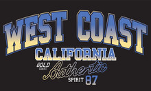 West Coast College Look Print For Tee. California City Print Design.