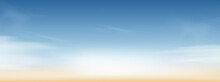 Blue Sky With Altostratus Clouds Background,Vector Cartoon Sky With Cirrus Clouds,Concept All Seasonal Horizon Banner In Sunny Day Spring And Summer In The Morning.Horizon Four Seasons Background